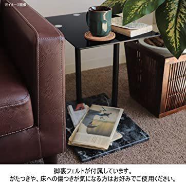 高級感 ガラス サイドテーブル 大理石柄 ソファサイド ベッドサイドテーブル コの字型 高さ調整可 ナイトテーブル リビング_画像7