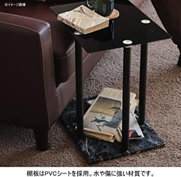 高級感 ガラス サイドテーブル 大理石柄 ソファサイド ベッドサイドテーブル コの字型 高さ調整可 ナイトテーブル リビング_画像6