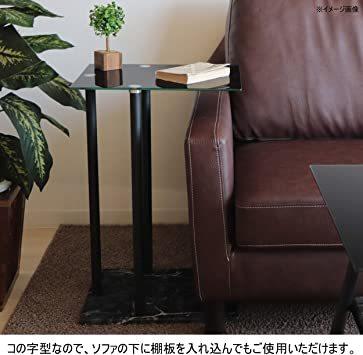 高級感 ガラス サイドテーブル 大理石柄 ソファサイド ベッドサイドテーブル コの字型 高さ調整可 ナイトテーブル リビング_画像5
