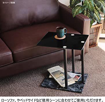 高級感 ガラス サイドテーブル 大理石柄 ソファサイド ベッドサイドテーブル コの字型 高さ調整可 ナイトテーブル リビング_画像4