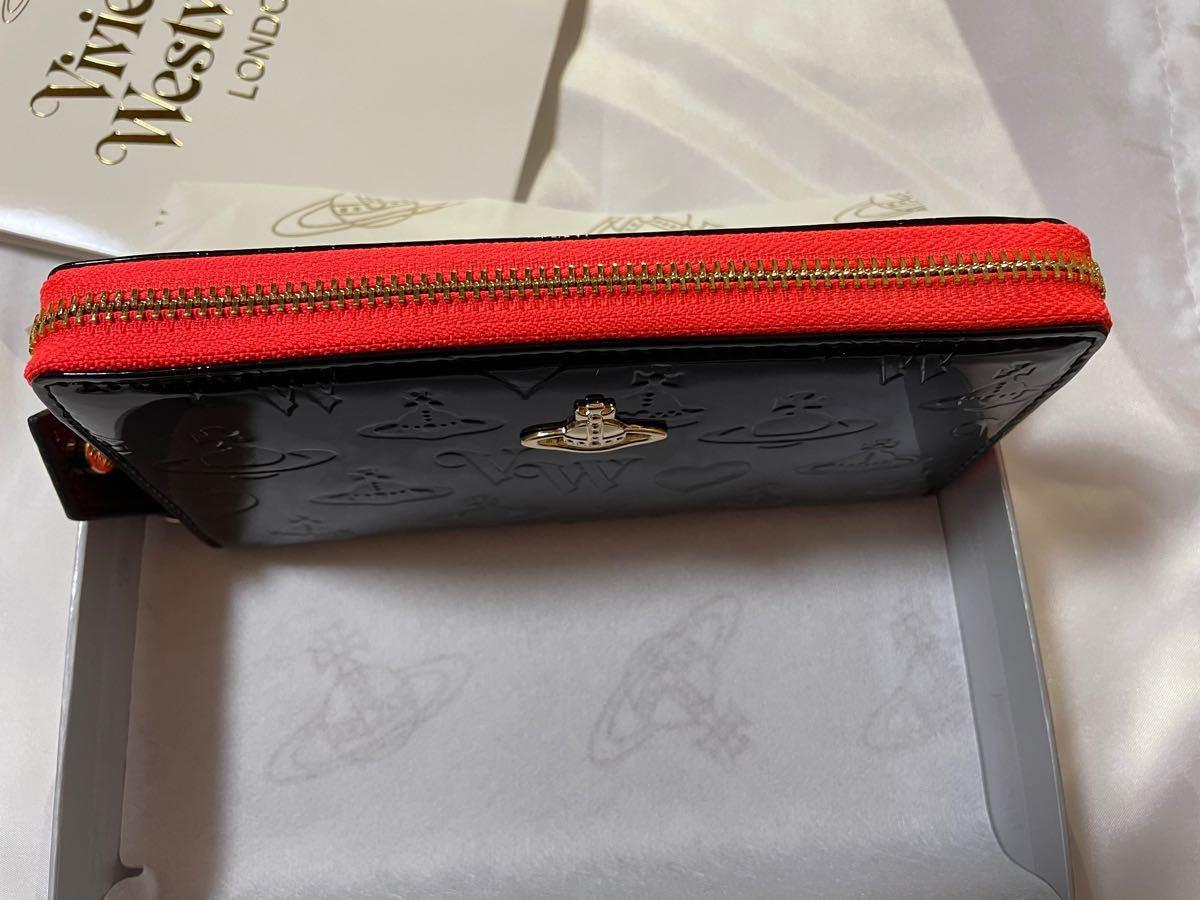 Vivienne Westwood ヴィヴィアンウエストウッド 新品未使用 黒 エナメル オレンジ 長財布 ウォレット