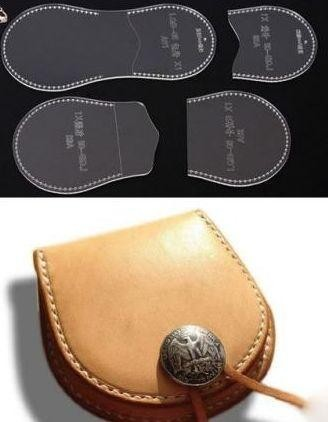 コインケース  小物入れ 財布 透明  アクリル型  レザークラフト 型紙