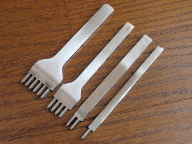 菱目打ち 4mm ピッチ 4本セット(1, 2, 4, 6本目)革 穴あけ レザークラフト工具