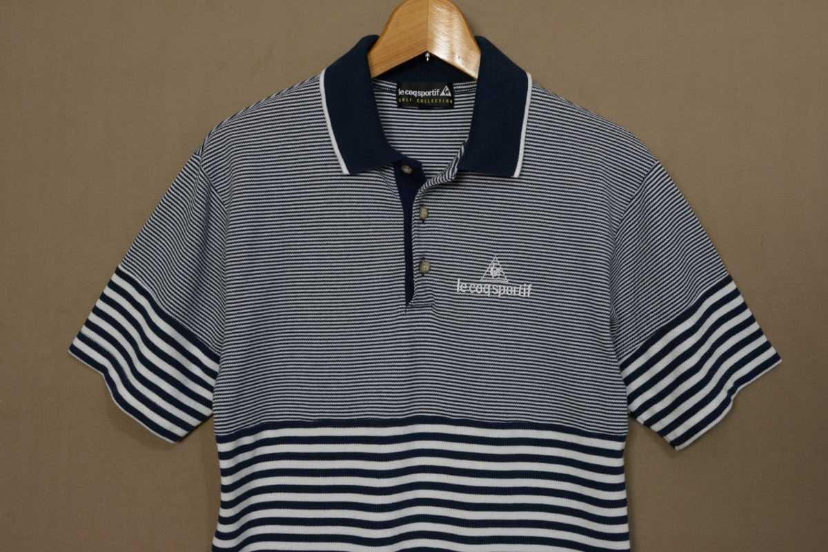 送料無料!! le coq sportif golf collection ルコック ゴルフ シャツ 半袖 ポロシャツ ボーダー ゴルフウェア_画像2