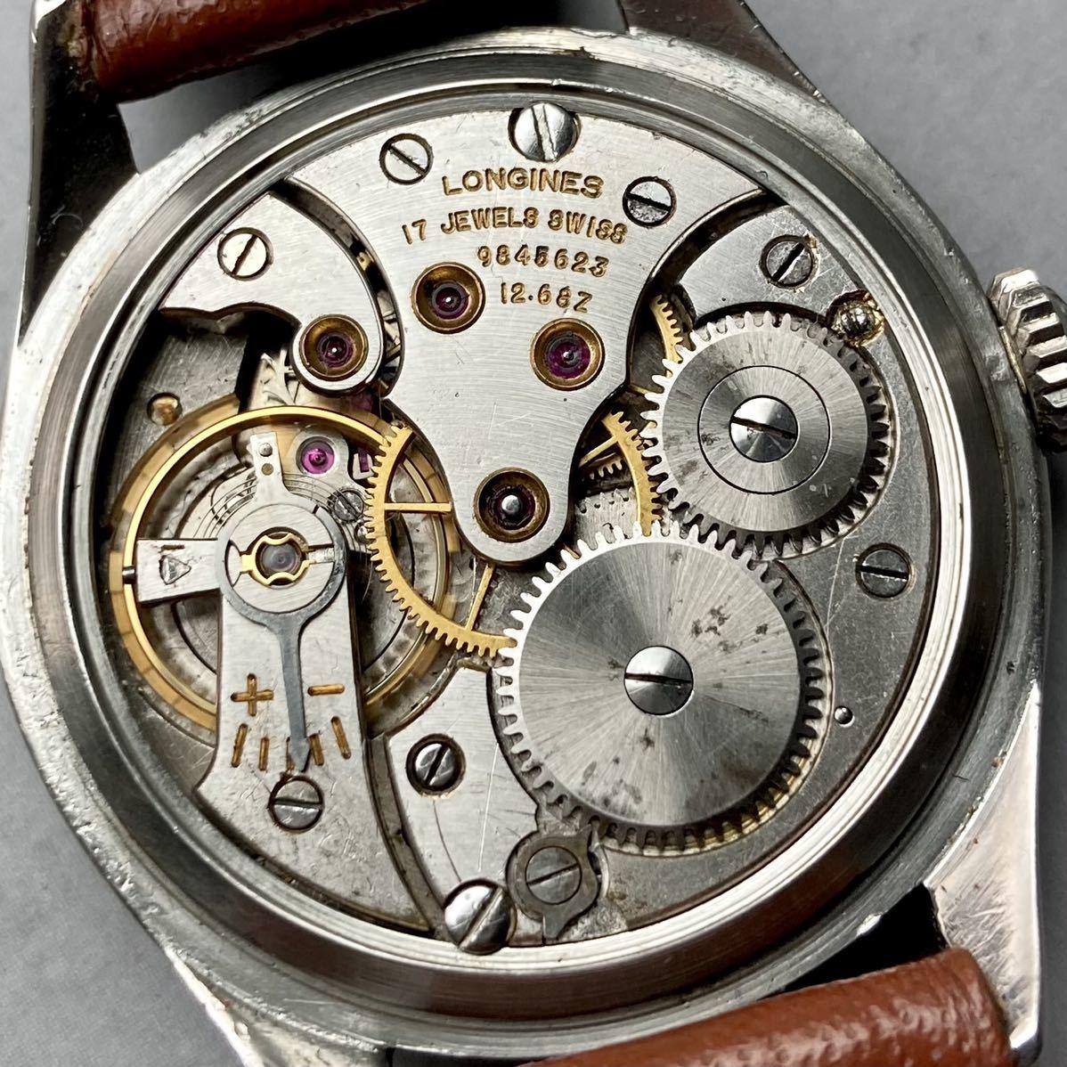 動作良好★ロンジン アンティーク 腕時計 1950年代 メンズ 手巻き cal.12.68Z ケース径33㎜ LONGINES ビンテージ ウォッチ 男性 スイス_画像8