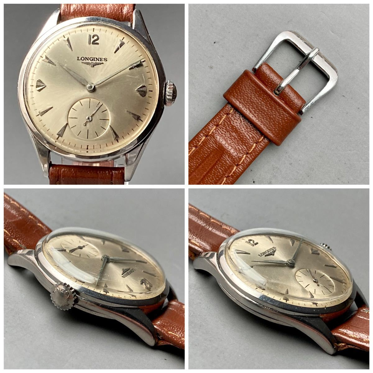 動作良好★ロンジン アンティーク 腕時計 1950年代 メンズ 手巻き cal.12.68Z ケース径33㎜ LONGINES ビンテージ ウォッチ 男性 スイス_画像4