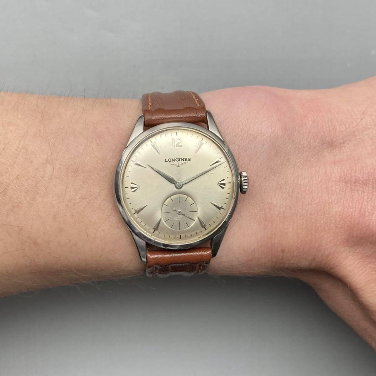 動作良好★ロンジン アンティーク 腕時計 1950年代 メンズ 手巻き cal.12.68Z ケース径33㎜ LONGINES ビンテージ ウォッチ 男性 スイス_画像10