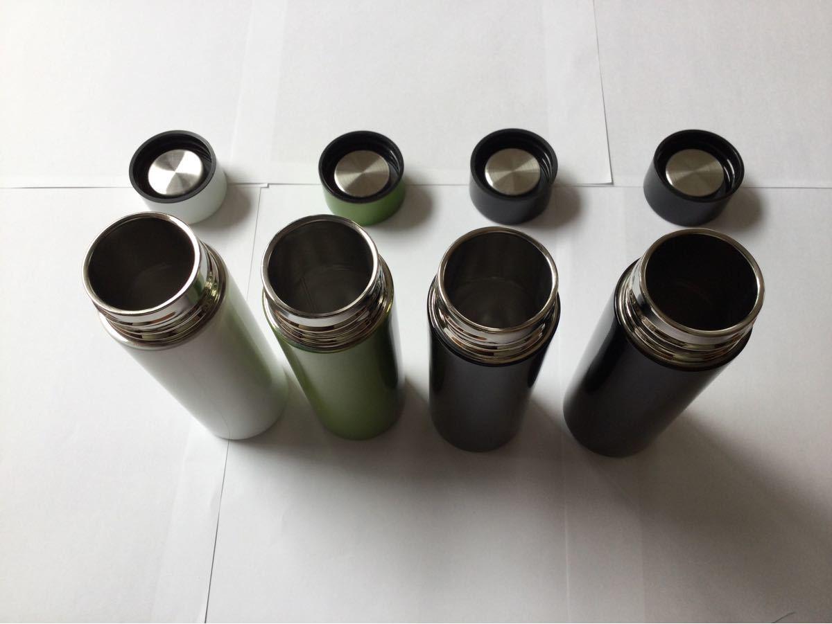 ステンレスボトル 140ml   白・グリーン各1個 黒2個 計4点セット