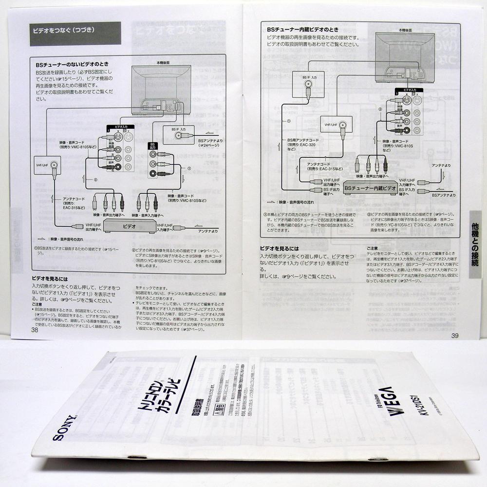 ■取扱説明書◆SONY『カラーテレビ トリニトロン VEGA』KV-21DS1 1999年 送料無料_画像2