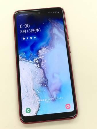 【1円スタート】新品同様 SIMロック解除済(SIMフリー) au Galaxy A20 SCV46 Red レッド 赤 本体 美品_画像2