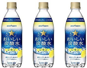 ポッカサッポロ おいしい炭酸水レモン 500ml×3本_画像1