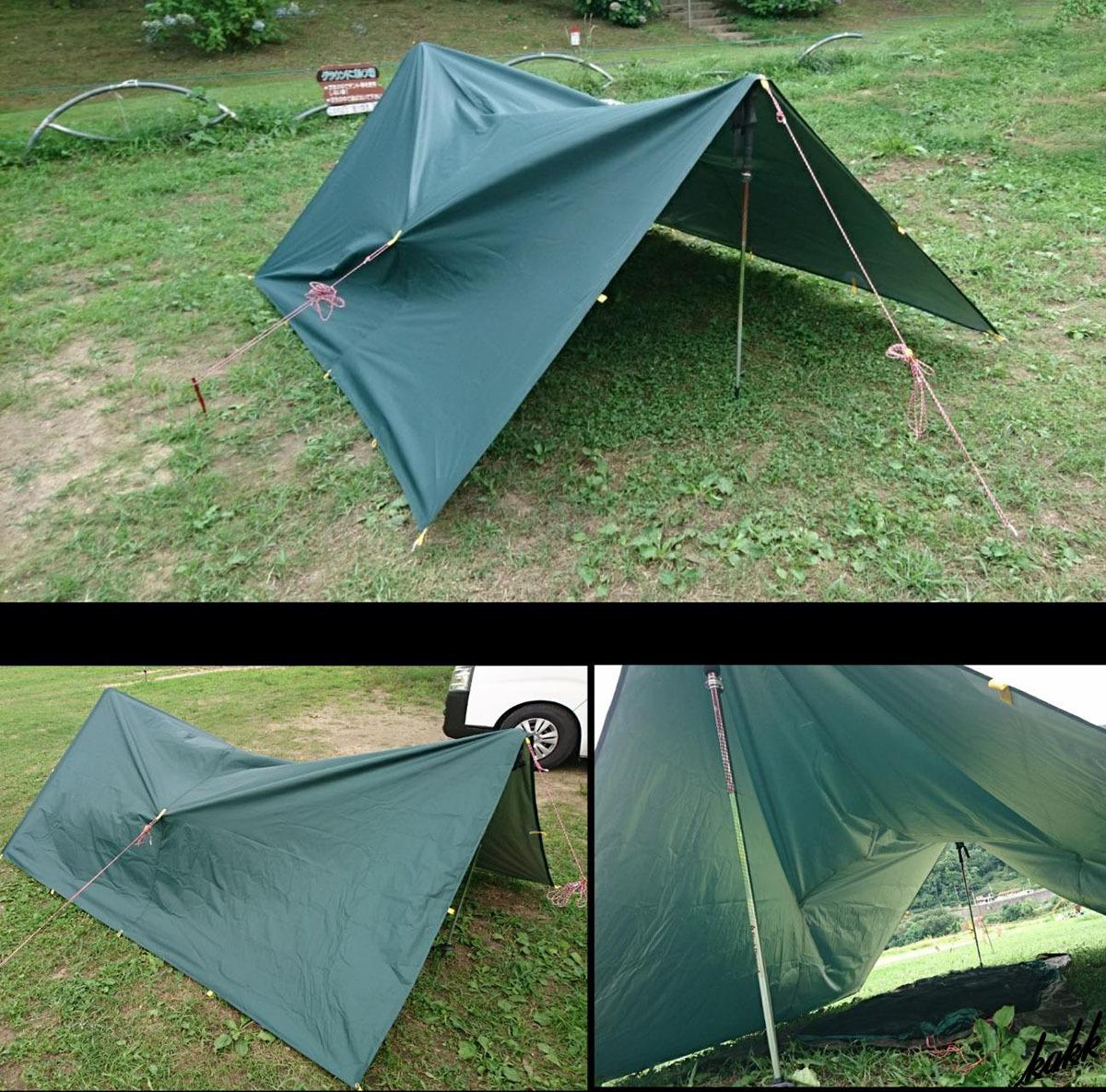 【防水 天幕シェード】 グリーン 300×300cm タープ 紫外線カット 遮光 日差し防止 軽量 コンパクト キャンプ道具 アウトドア ツーリング