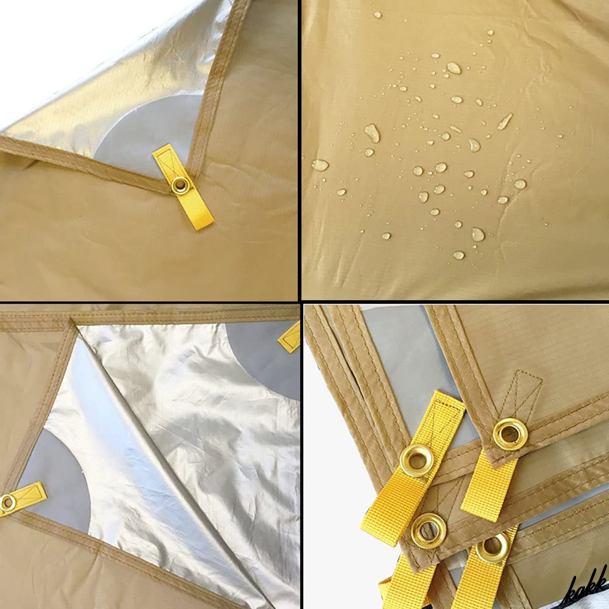 【防水 天幕シェード】 カーキ 300×400cm タープ 紫外線カット 遮光 日差し防止 軽量 コンパクト キャンプ道具 アウトドア ツーリング