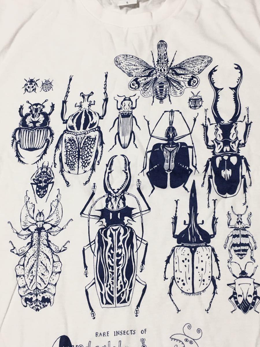 特価 世界の昆虫 標本Tシャツ  Lサイズ aroundaglobe 甲虫 珍虫 クワガタ カブトムシ 怪虫 オオキバウスバカミキリ コノハムシ_画像1