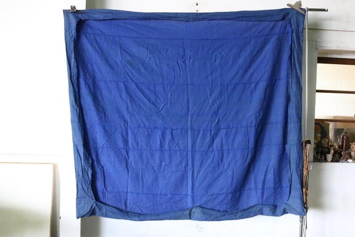 TB526藍染 木綿製 古布 189×153cm◇ボロ/布団皮/カバー/襤褸/裁縫/和裁/リメイク/素材/布地/被服/敷物/掛物/継接ぎ/古道具タグボート_画像5