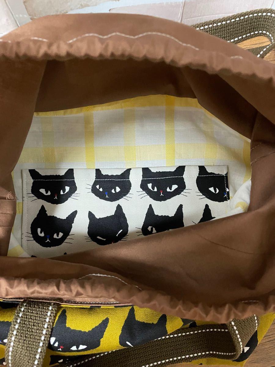 ハンドメイド 巾着トートバッグ 猫柄