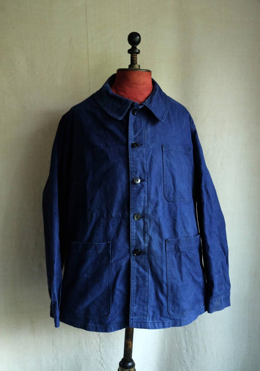 1960's フランス ヴィンテージ St. JAMES コットンツイルワークジャケット 10s20s30s40s インディゴ リネン スモック コート ベスト シャツ