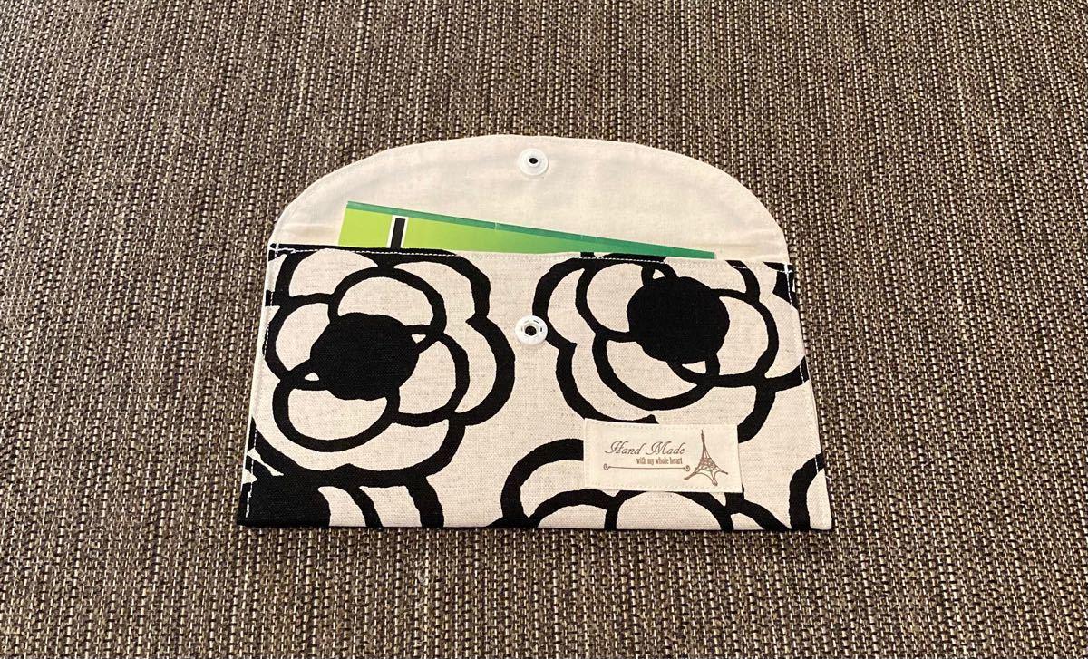ハンドメイド マルチケース 通帳ケース カメリア柄 花柄 プレゼント ポーチ ケース