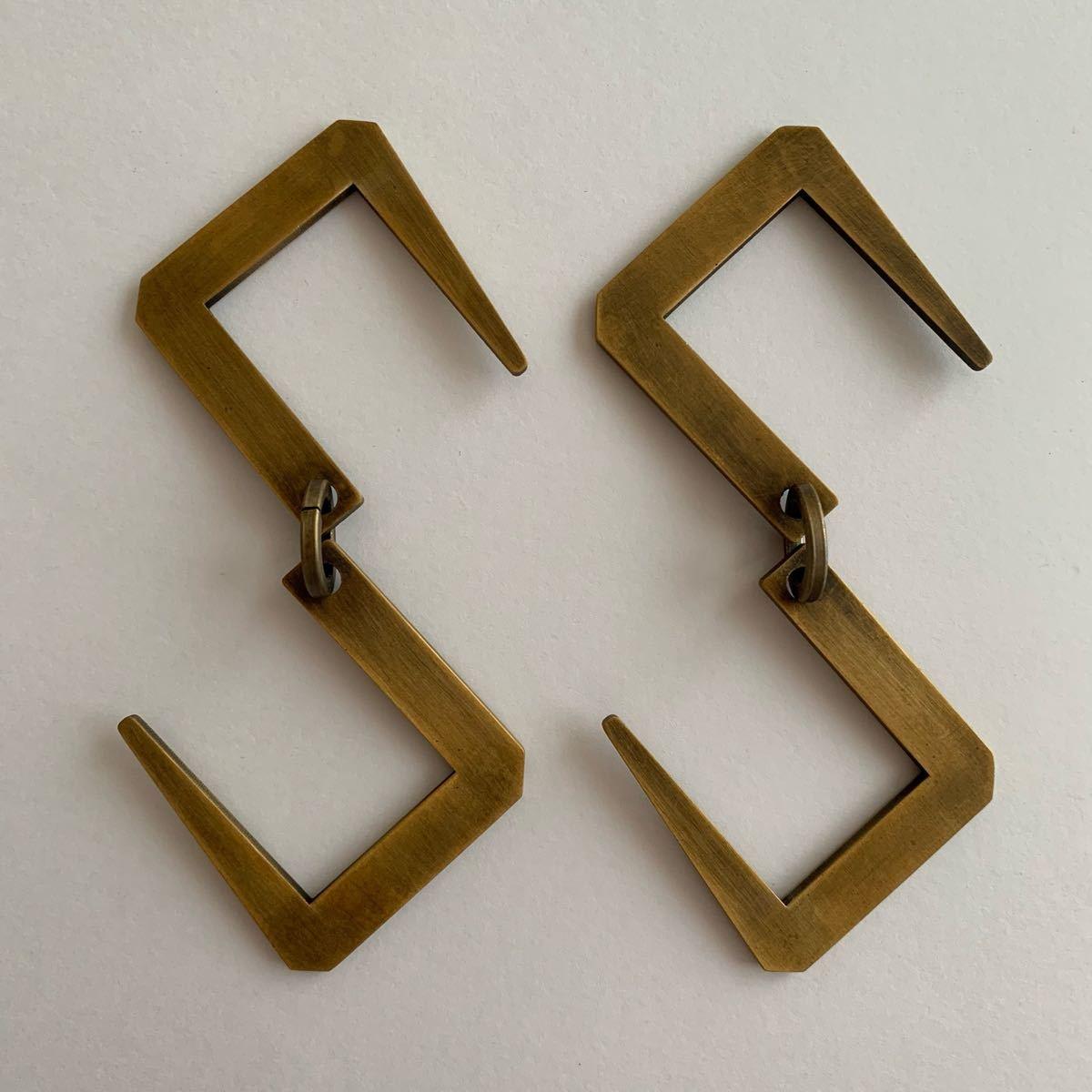 ランタン用S字フック2個セット*真鍮色ゴールド金色アウトドア用品キャンプ用品