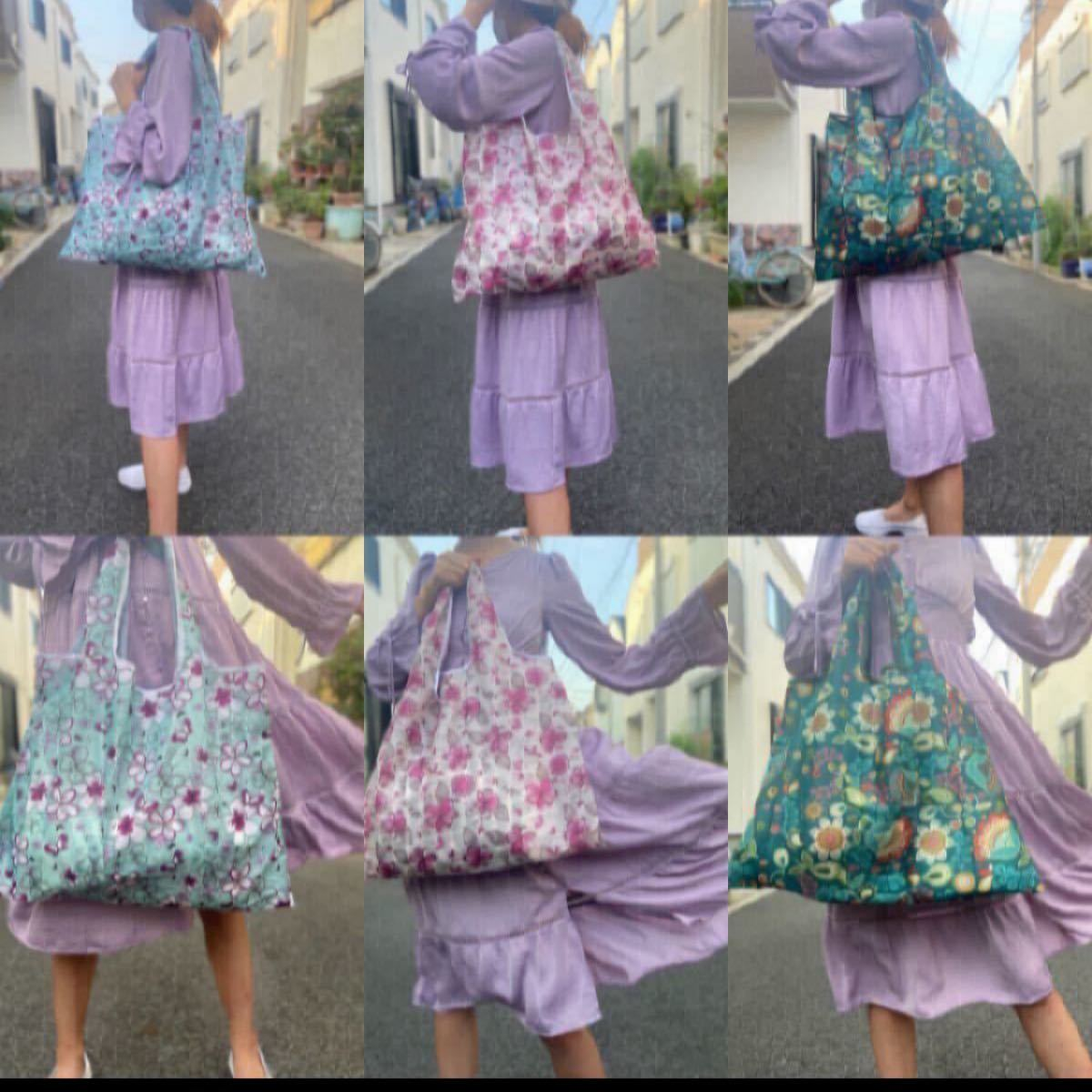 トートバッグ エコバッグ 花柄 ピンク ブルー ショッピングバッグ