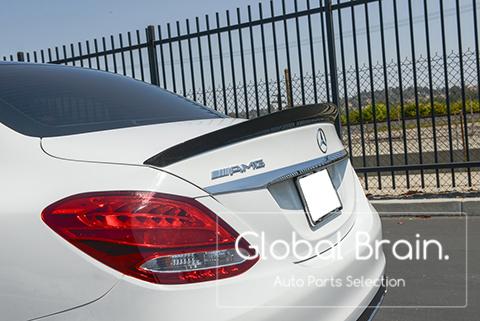 メルセデスベンツ Cクラス W205 カーボン リア トランク スポイラー / スプリッター ディフューザー バンパー トリム カバー ウイング_画像4