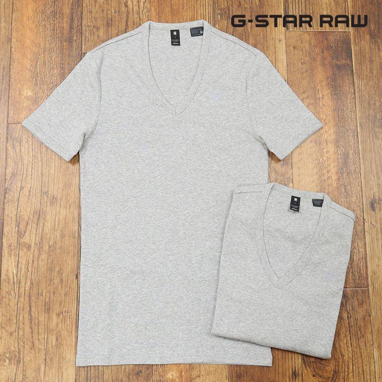 1円/春夏/G-STAR RAW/Sサイズ/2パックTシャツ BASE V T S/S 8756-124 ジャージー Vネック 無地 定番 半袖 新品/グレー/ct270/_画像1