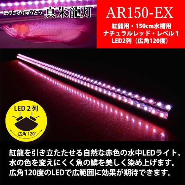 真朱龍灯 アロワナ レッド レベル1 LED 2列 大型水槽 水中照明 アロワナライト アクアリウム 熱帯魚 紅龍 150cm水槽用 でんらい AR150-EX_画像3