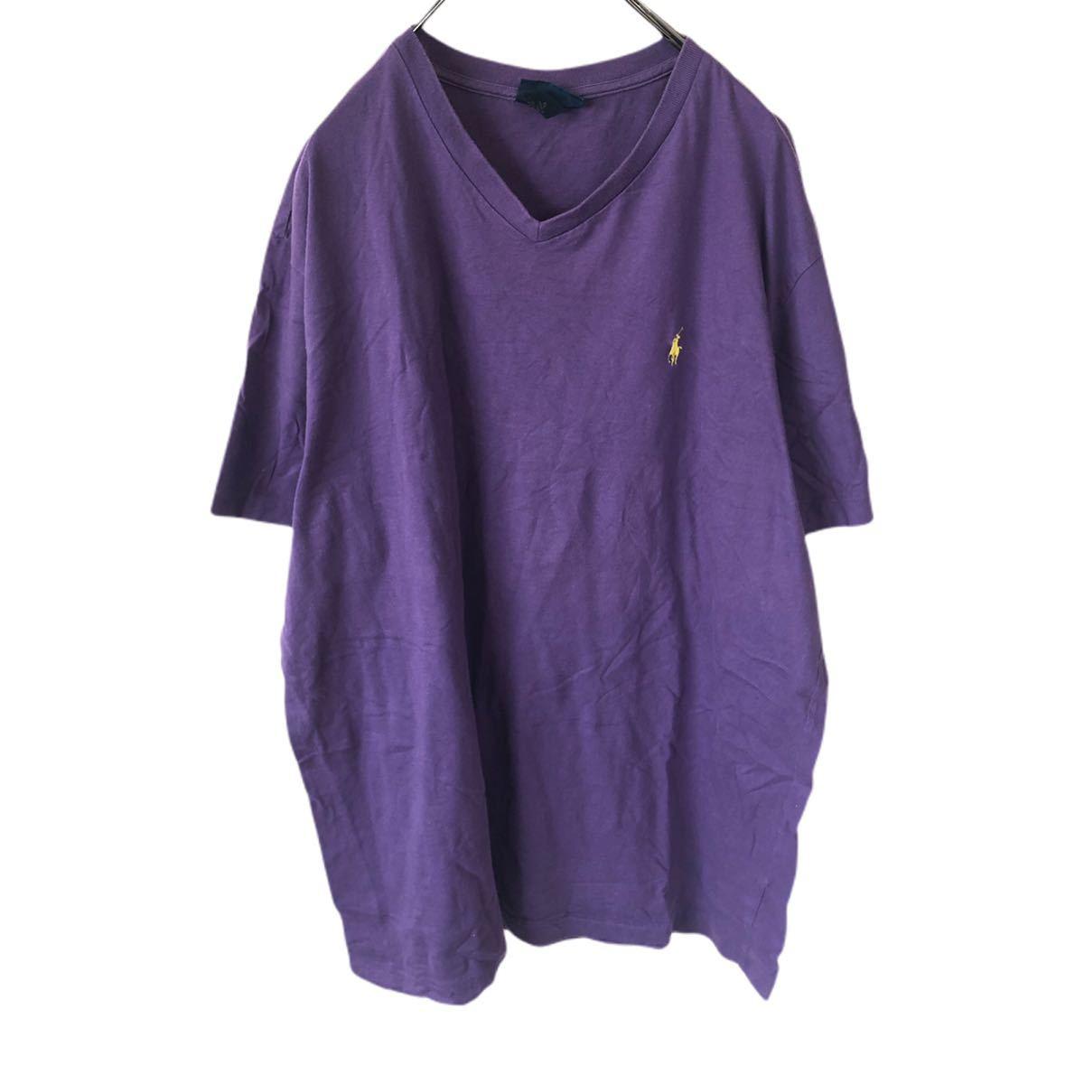 YR154 ポロバイラルフローレン POLO by Ralph Lauren 半袖 Tシャツ Vネック ワンポイント 刺繍ロゴ 紫 パープル ビッグサイズ メンズXL nn_画像1