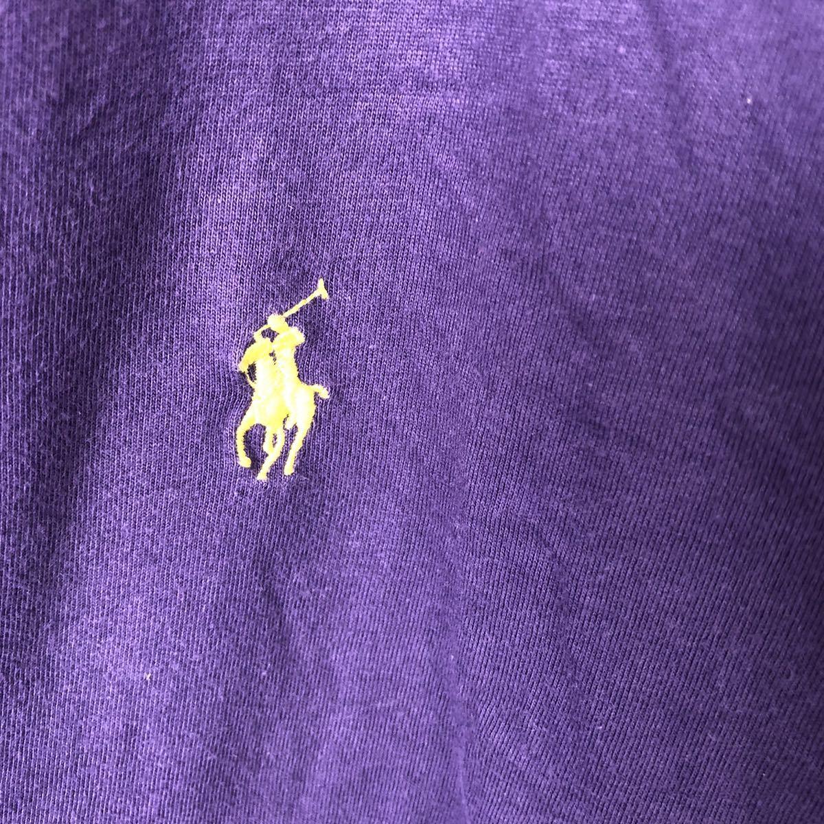 YR154 ポロバイラルフローレン POLO by Ralph Lauren 半袖 Tシャツ Vネック ワンポイント 刺繍ロゴ 紫 パープル ビッグサイズ メンズXL nn_画像3