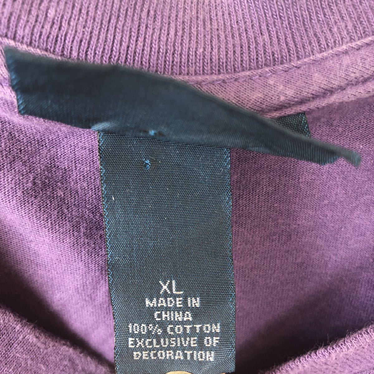 YR154 ポロバイラルフローレン POLO by Ralph Lauren 半袖 Tシャツ Vネック ワンポイント 刺繍ロゴ 紫 パープル ビッグサイズ メンズXL nn_画像5
