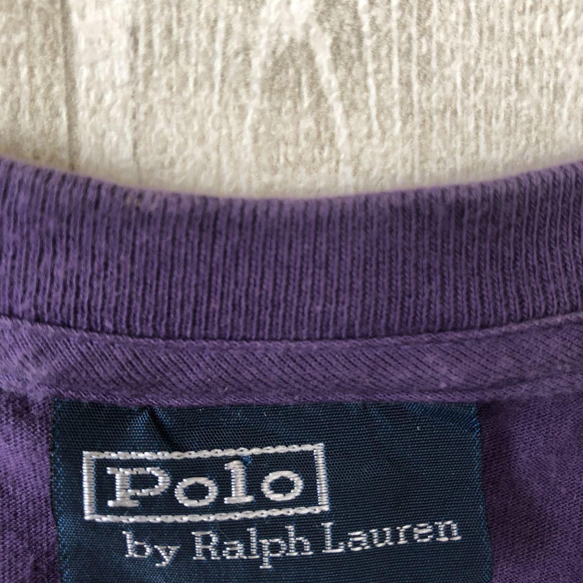 YR154 ポロバイラルフローレン POLO by Ralph Lauren 半袖 Tシャツ Vネック ワンポイント 刺繍ロゴ 紫 パープル ビッグサイズ メンズXL nn_画像6