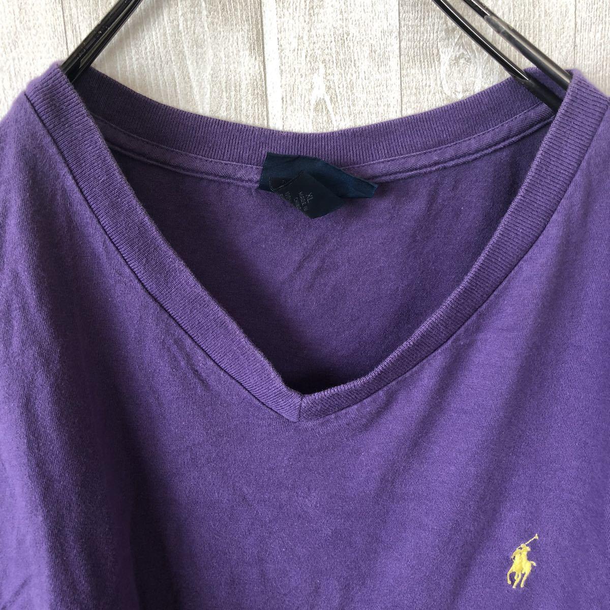 YR154 ポロバイラルフローレン POLO by Ralph Lauren 半袖 Tシャツ Vネック ワンポイント 刺繍ロゴ 紫 パープル ビッグサイズ メンズXL nn_画像4