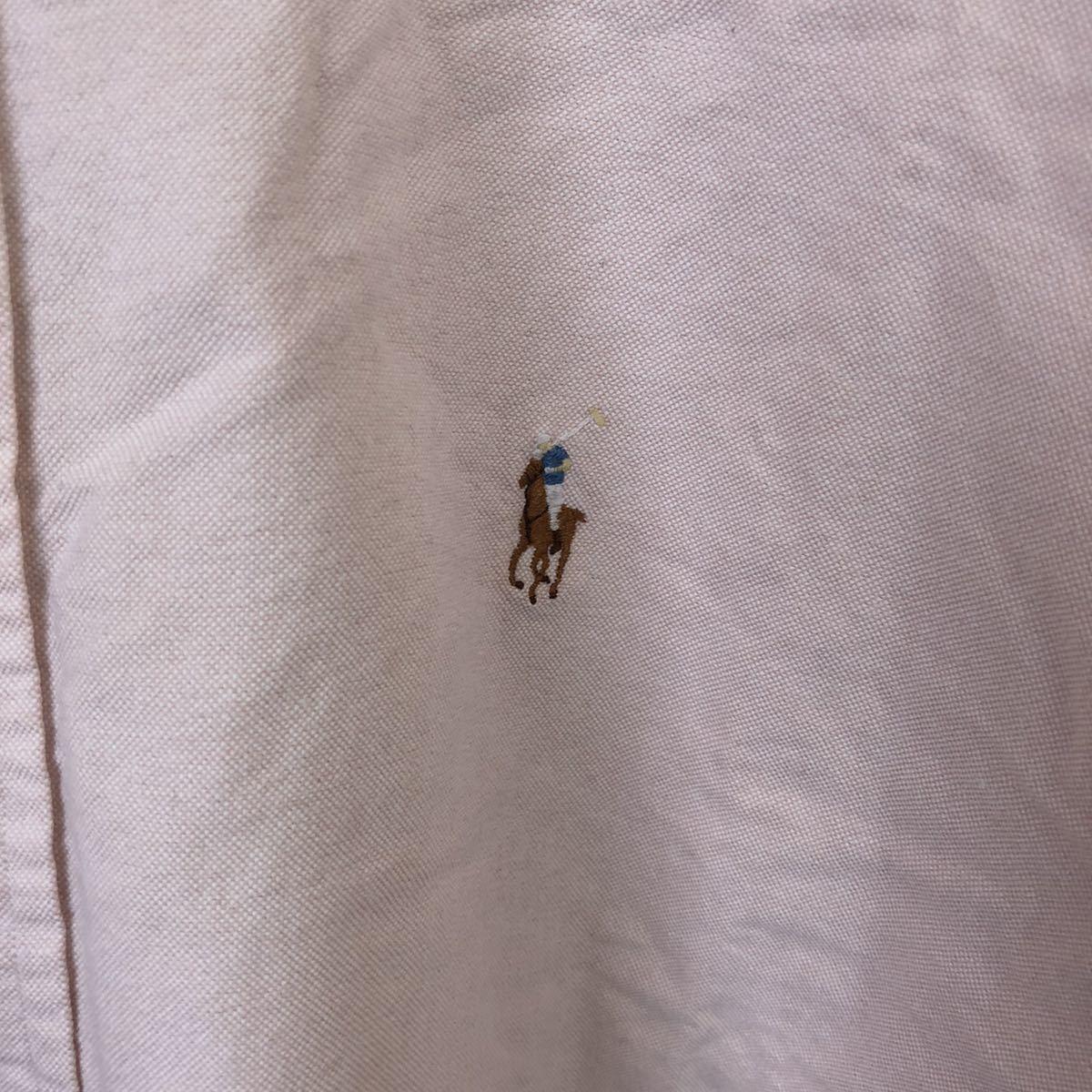 YT2168 ポロバイラルフローレン POLO by Ralph Lauren 半袖シャツ ボタンダウン ワンポイント 刺繍ロゴ コットン ビッグサイズ メンズXL nn_画像3