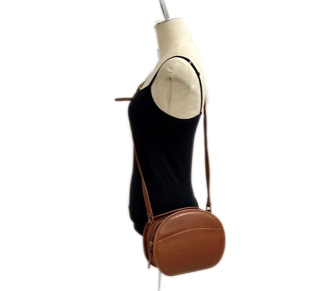 ◇オールド「コーチ」レザー ショルダーバッグ グレインレザー ポシェット 丸形 可愛い ヴィンテージ COACH レディースバッグ 1円