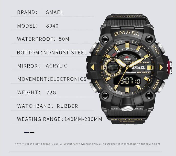 ◆ ミリタリー ウォッチ メンズ スポーツ 防水 腕時計 ストップウォッチ アラーム ledライト デジタル腕時計 メンズスポーツ時計 1740_画像6