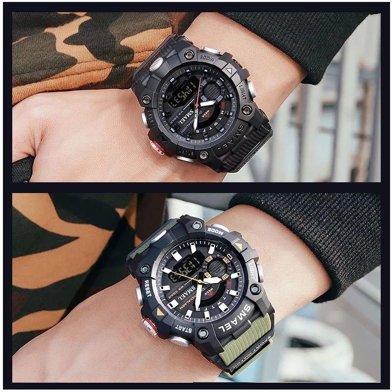 ◆ ミリタリー ウォッチ メンズ スポーツ 防水 腕時計 ストップウォッチ アラーム ledライト デジタル腕時計 メンズスポーツ時計 1738_画像4