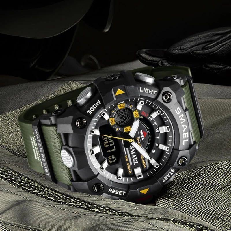 ◆ ミリタリー ウォッチ メンズ スポーツ 防水 腕時計 ストップウォッチ アラーム ledライト デジタル腕時計 メンズスポーツ時計 1740_画像2
