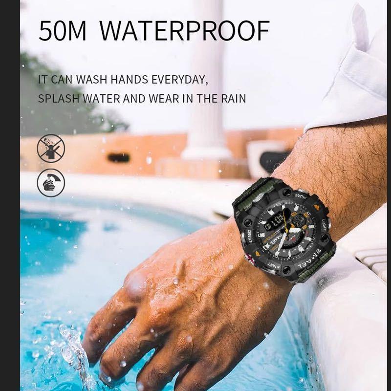 ◆ ミリタリー ウォッチ メンズ スポーツ 防水 腕時計 ストップウォッチ アラーム ledライト デジタル腕時計 メンズスポーツ時計 1740_画像5