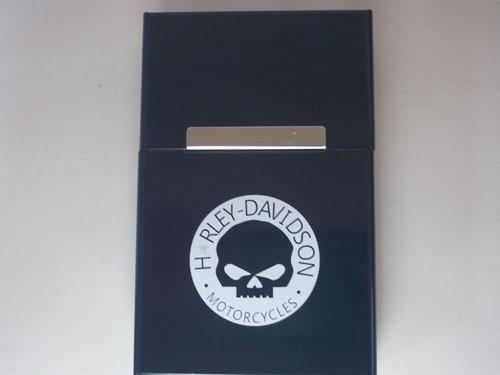 【新品・即決】シガレットケース HARLEY-DAVIDOSON スカル たばこケース たばこ入れ 缶 黒 ハーレー シガレット 金属 定形外発送可_画像1
