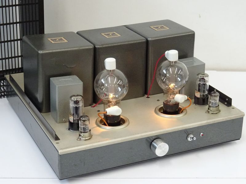 ▲▽宍戸式808 真空管パワーアンプ TANGO 10478 MC-3-350D NC-1/RCA 808/東芝 6GA4/Black
