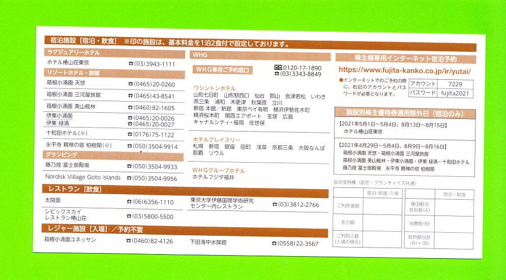 ◆《即 決》◆ (送料63円) ◆ 藤田観光株主優待券 ワシントンホテル50%割引券◆  -3枚セット-  (有効期限:2021年9月末)_画像2