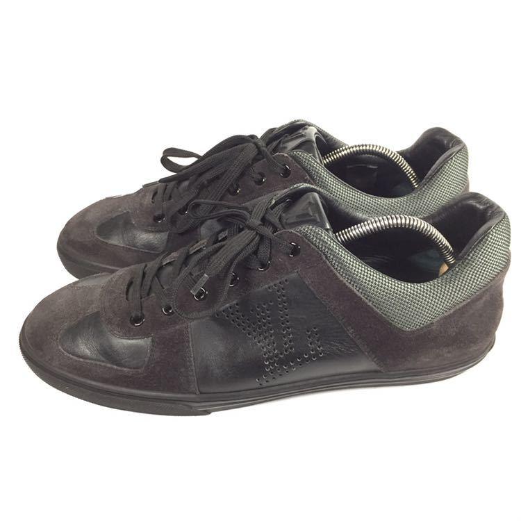 【ルイヴィトン】本物 LOUIS VUITTON 靴 26cm 黒 LVロゴ スニーカー カジュアルシューズ レザー×スエード 男性用 メンズ イタリア製 7_画像6