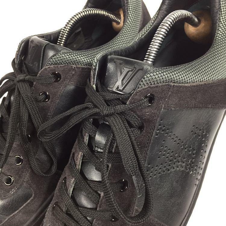 【ルイヴィトン】本物 LOUIS VUITTON 靴 26cm 黒 LVロゴ スニーカー カジュアルシューズ レザー×スエード 男性用 メンズ イタリア製 7_画像8