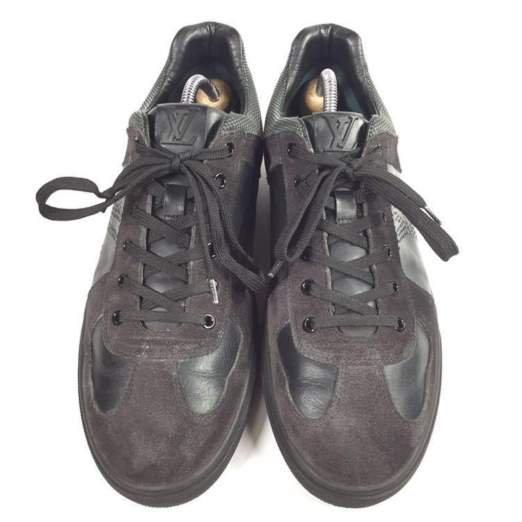 【ルイヴィトン】本物 LOUIS VUITTON 靴 26cm 黒 LVロゴ スニーカー カジュアルシューズ レザー×スエード 男性用 メンズ イタリア製 7_画像2