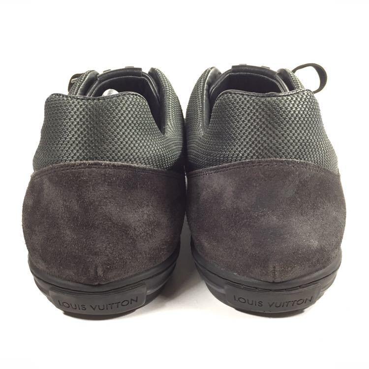 【ルイヴィトン】本物 LOUIS VUITTON 靴 26cm 黒 LVロゴ スニーカー カジュアルシューズ レザー×スエード 男性用 メンズ イタリア製 7_画像3