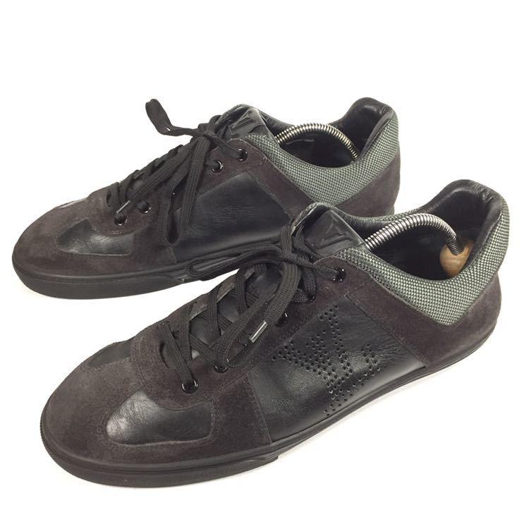 【ルイヴィトン】本物 LOUIS VUITTON 靴 26cm 黒 LVロゴ スニーカー カジュアルシューズ レザー×スエード 男性用 メンズ イタリア製 7_画像1