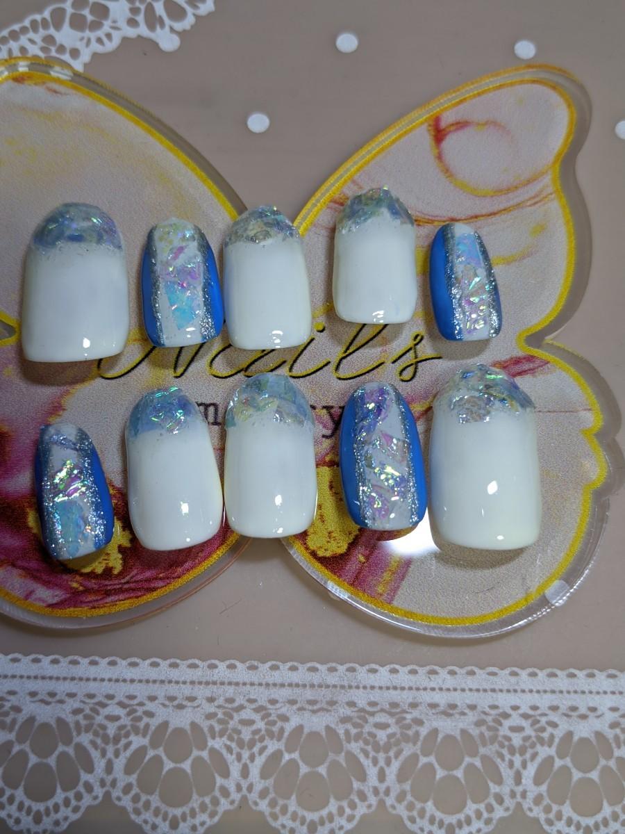 青ラメホロフレンチネイル#3 ネイルアート 付け爪 ネイルチップ