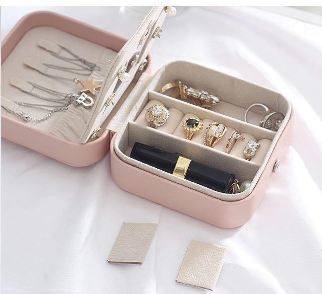 (ピンク)新品未使用・ジュエリーボックス アクセサリーケース 小物収納 ピアス イヤリング 指輪 ネックレス 収納_画像5
