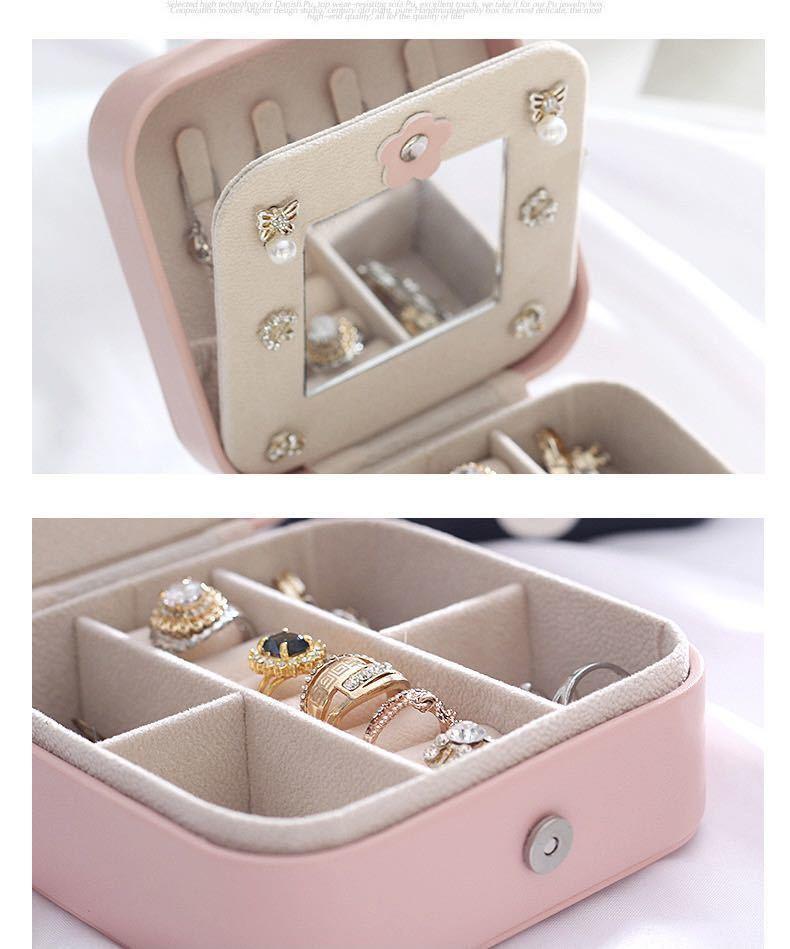 (ピンク)新品未使用・ジュエリーボックス アクセサリーケース 小物収納 ピアス イヤリング 指輪 ネックレス 収納_画像4