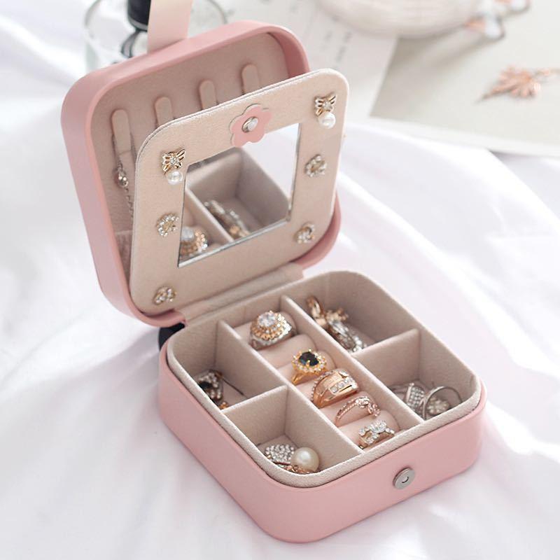 (ピンク)新品未使用・ジュエリーボックス アクセサリーケース 小物収納 ピアス イヤリング 指輪 ネックレス 収納_画像2